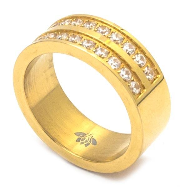 Joyas de acero quirurgico por mayor, anillos. Medio cintillo en dos corridas, en amarillo de 9 mm d-Joyas de Acero-Anillos-RA0655