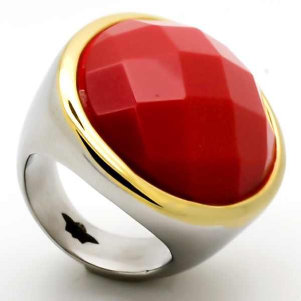Joyas de acero quirurgico por mayor, anillos. Anillo acero grueso ovalado y borde dorado en medio u-Joyas de Acero-Anillos-RA0674