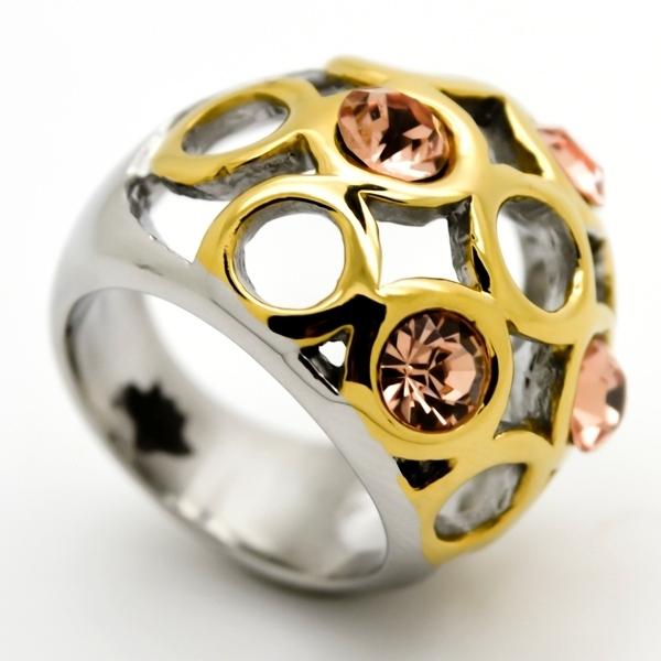 Joyas de acero quirurgico por mayor, anillos. base plateado, supeficie dorada con 4 circones color-Joyas de Acero-Anillos-RA0676