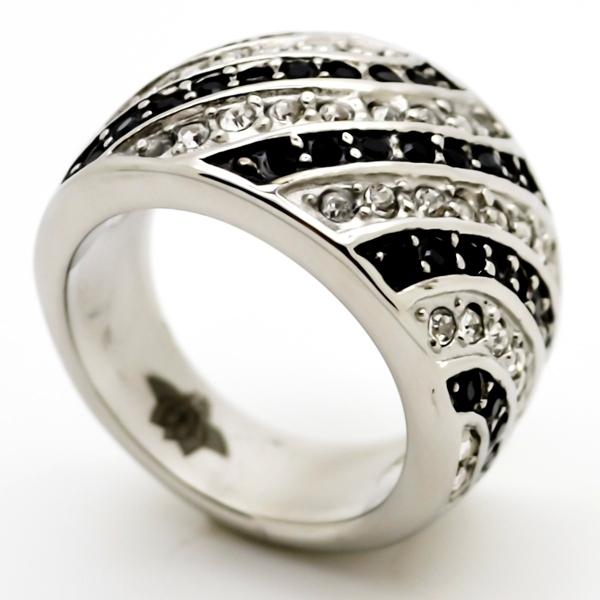 Joyas de acero quirurgico por mayor, anillos. base con circones negros y blancos intercalados-Joyas de Acero-Anillos-RA0690