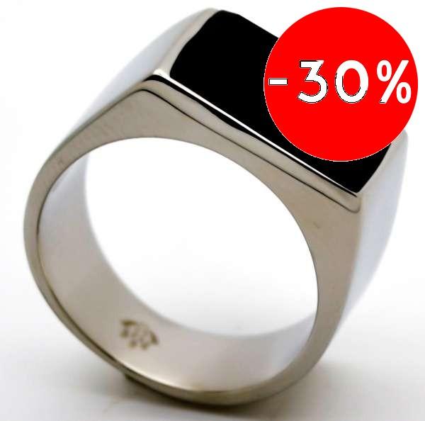 Joyas de acero quirurgico por mayor, anillos. base plateada con cristal negro rectangular-Súper Ofertas-SOLO POR INTERNET-RA0691L
