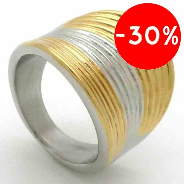Joyas de acero quirurgico por mayor, anillos. anillo curvo con lines horizontales doradas y platead-Joyas de Acero-Anillos-RA0697