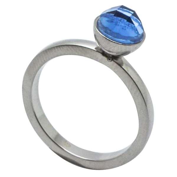 Joyas de acero quirurgico por mayor, anillos. Solitario, con circon azul de 5 mm-Joyas de Acero-Anillos-RA0703L
