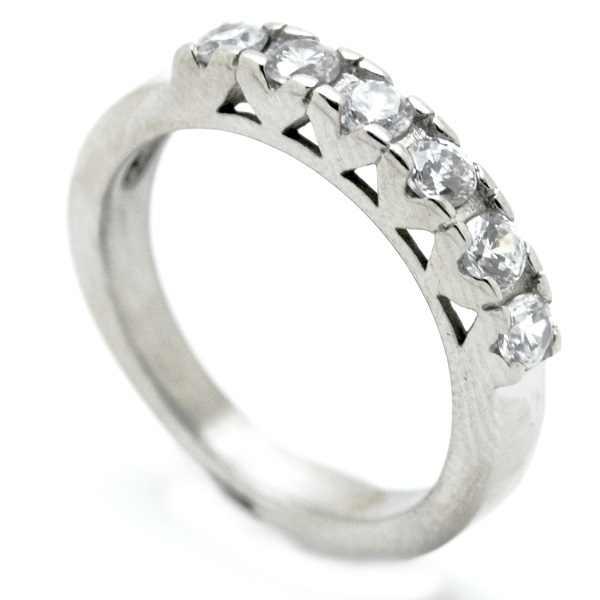 Joyas de acero quirurgico por mayor, anillos. medio cintillo con 6 circones brillantes.-Joyas de Acero-Anillos-RA0704