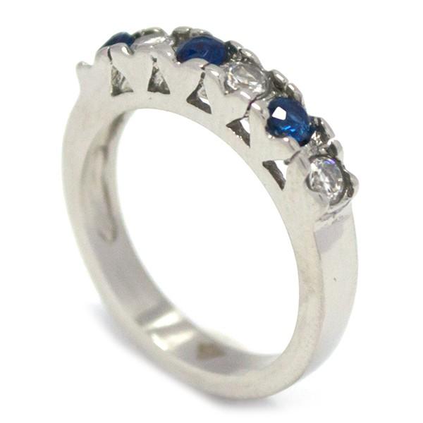 Joyas de acero quirurgico por mayor, anillos. medio cintillo con 6 circones, intercalado azul y bri-Joyas de Acero-Anillos-RA0705