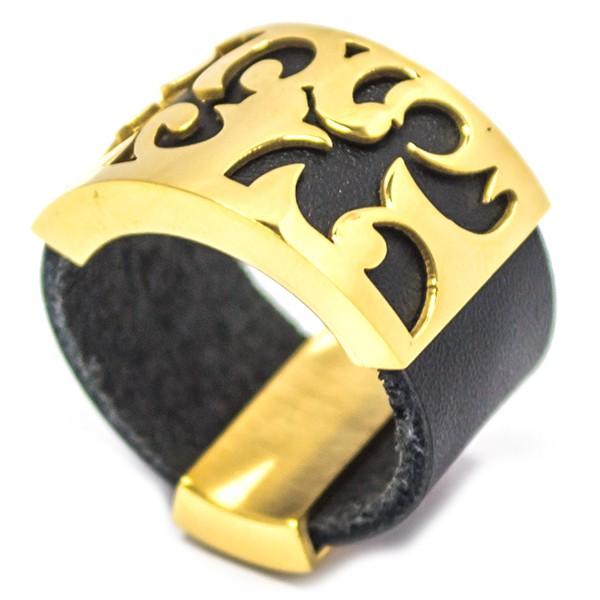 Joyas de acero quirurgico por mayor, anillos. Anillo de cuero, con aplicación en acero dorado calad-Joyas de Acero-Anillos-RA0719