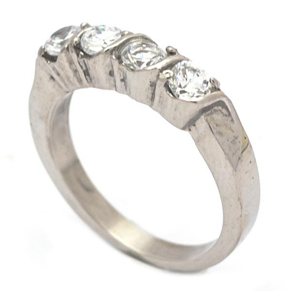 Joyas de acero quirurgico por mayor, anillos. Anillo acero con 4 circones blancos-Joyas de Acero-Anillos-RA0727