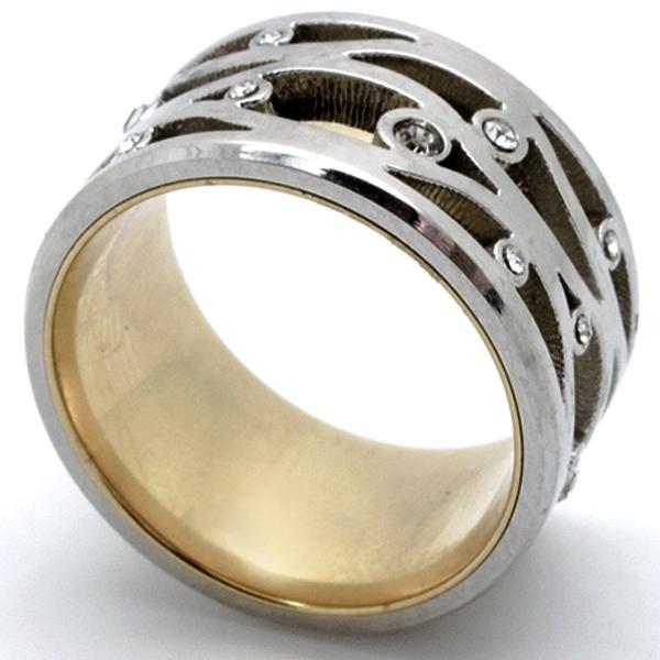 Joyas de acero quirurgico por mayor, anillos. Anillo ancho bicolor y circones intercalados-Joyas de Acero-Anillos-RA0731