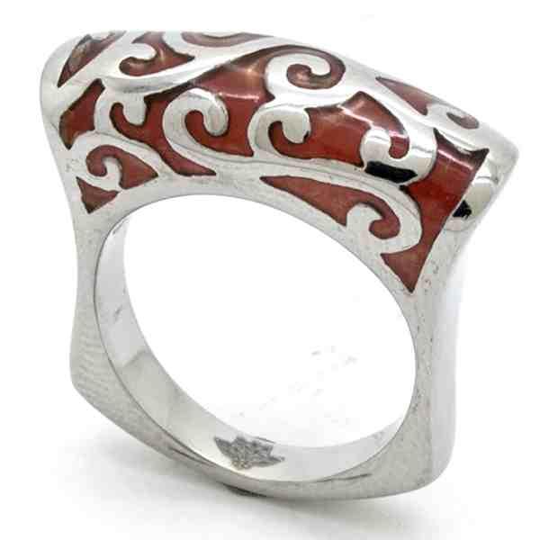 Joyas de acero quirurgico por mayor, anillos. Anillo acero delgado, esmaltado en color café-Joyas de Acero-Anillos-RA0739C
