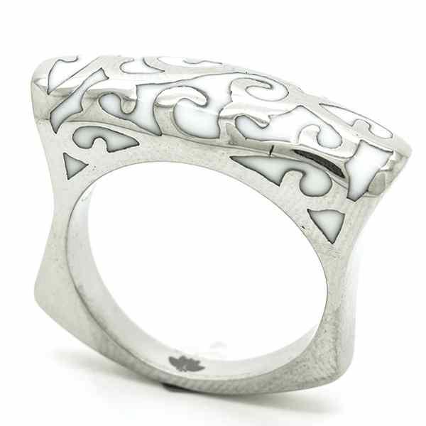 Joyas de acero quirurgico por mayor, anillos. Anillo acero delgado, esmaltado en color blanco-Joyas de Acero-Anillos-RA0739W