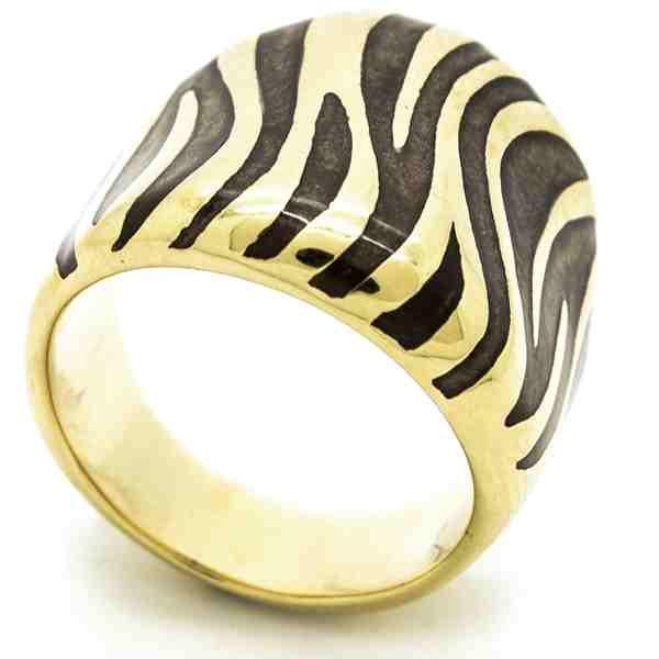 Joyas de acero quirurgico por mayor, anillos. Anillo alargado dorado con esmalte cafe en forma de c-Joyas de Acero-Anillos-RA0741C