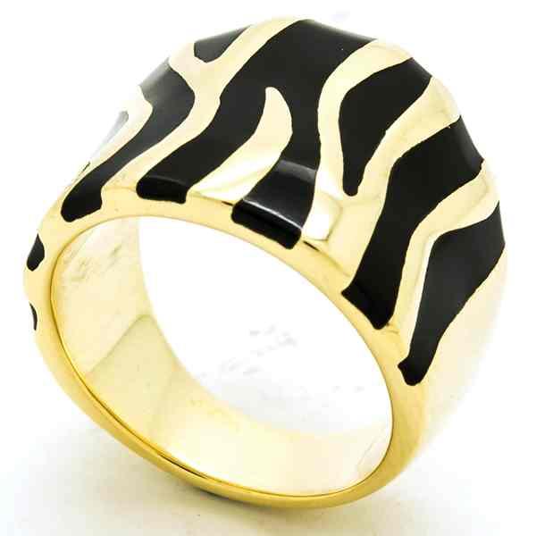 Joyas de acero quirurgico por mayor, anillos. Anillo dorado con esmalte negro en forma de cebra-Joyas de Acero-Anillos-RA0744N