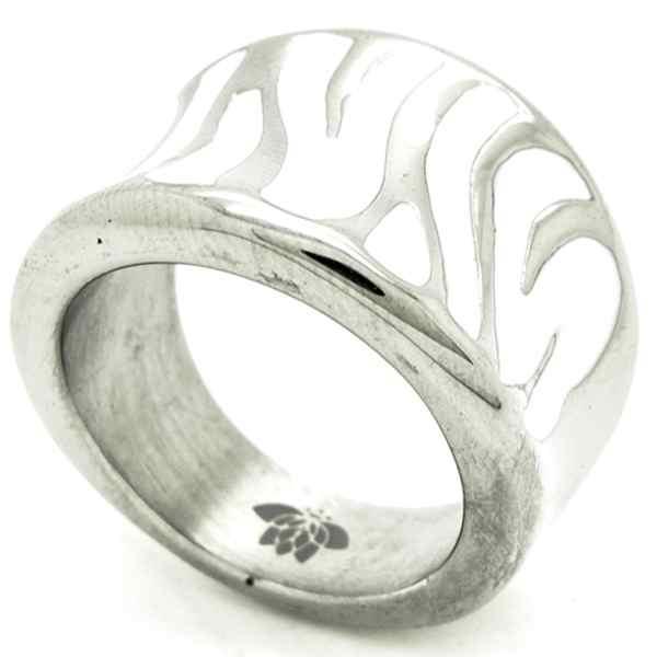 Joyas de acero quirurgico por mayor, anillos. Anillo acero, esmaltado blanco en forma de cebra-Joyas de Acero-Anillos-RA0745W