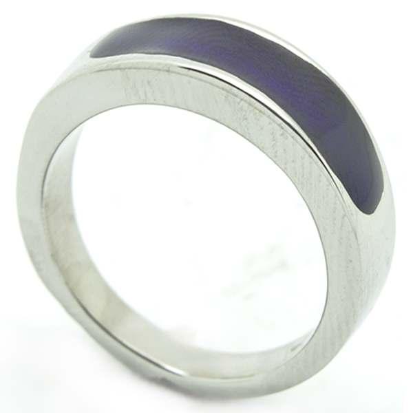 Joyas de acero quirurgico por mayor, anillos. Anillo acero delgado, esmaltado morado-Joyas de Acero-Anillos-RA0747