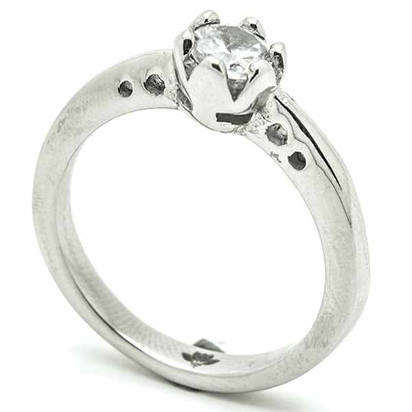 Joyas de acero quirurgico por mayor, anillos. Anillo acero forma de solitario-Joyas de Acero-Anillos-RA0749