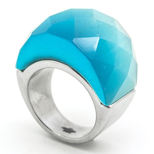 Joyas de acero quirurgico por mayor, Anillos, anillo acero con cristal facetado color turquesa-Joyas de Acero-Anillos-RA0756K