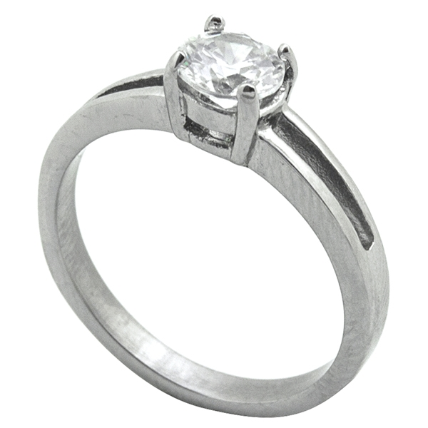 Joyas de acero quirurgico por mayor, anillos. anillo acero con circon, estilo solitario-Joyas de Acero-Anillos-RA0769