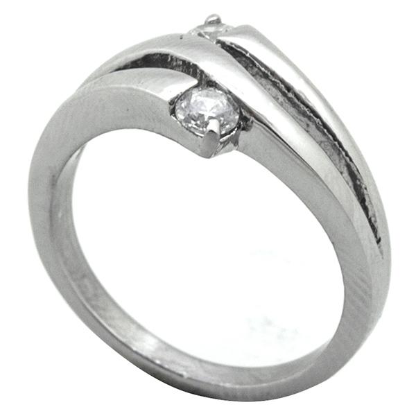 Joyas de acero quirurgico por mayor, Anillo, anillo acero con dos pequeños circones entrelazados-Joyas de Acero-Anillos-RA0778