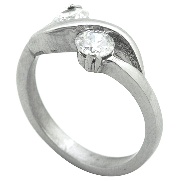 Joyas de acero quirurgico por mayor, Anillos, anillo estilo solitario, dos circones entrelazados-Joyas de Acero-Anillos-RA0779