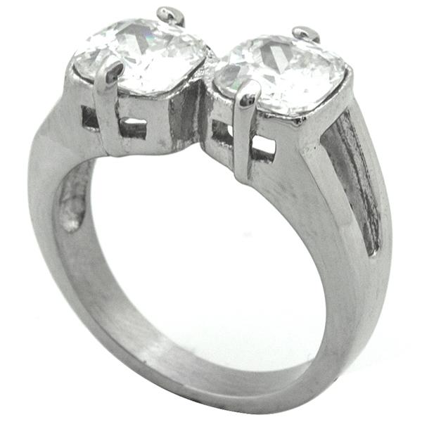 Joyas de acero quirurgico por mayor, Anillos, anillo acero estilo solitario, diseño moderno con dos-Joyas de Acero-Anillos-RA0783