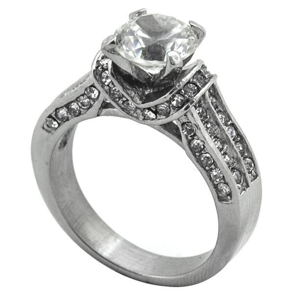 Joyas de acero quirurgico por mayor, Anillos, anillo solitario con circones incrustados alrededor-Joyas de Acero-Anillos-RA0790L