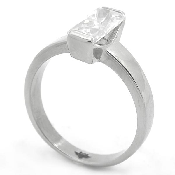 Joyas de acero quirurgico por mayor, Anillo, anillo acero tipo solitario, moderno diseño con cristal-Joyas de Acero-Anillos-RA0796