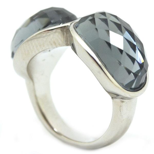 diseño vanguardista y cristal facetado gris 6-Joyas de Acero-Anillos-RA0800G