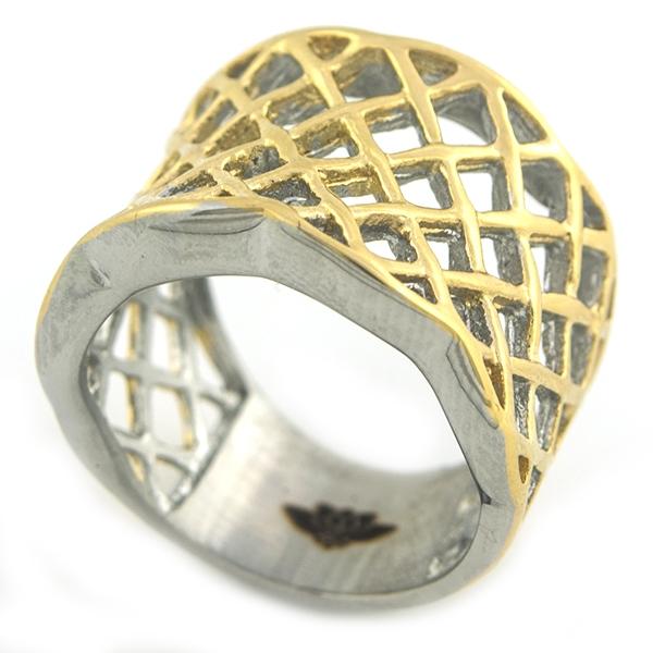 Joyas de acero quirúrgico por mayor, Anillos, anillo acero color dorado con diseño enrejado-Joyas de Acero-Anillos-RA0804