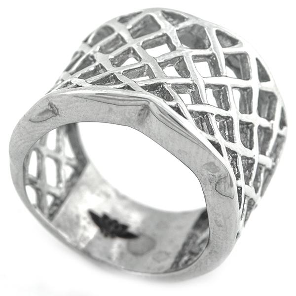 Joyas de acero quirúrgico por mayor, Anillos, anillo acero con diseño enrejado-Joyas de Acero-Anillos-RA0805