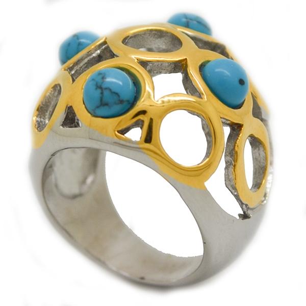 moderno diseño, bicolor y piedras color turquesa6-Joyas de Acero-Anillos-RA0806