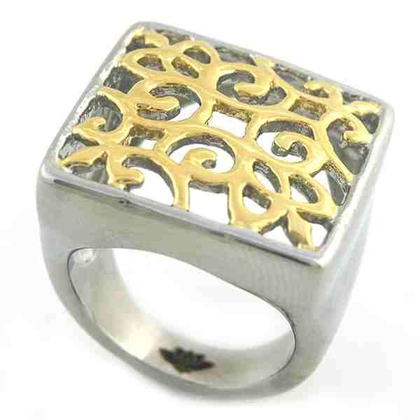 Joyas de acero quirúrgico por mayor, Anillos, anillo acero dorado, diseño filigrana-Joyas de Acero-Anillos-RA0808