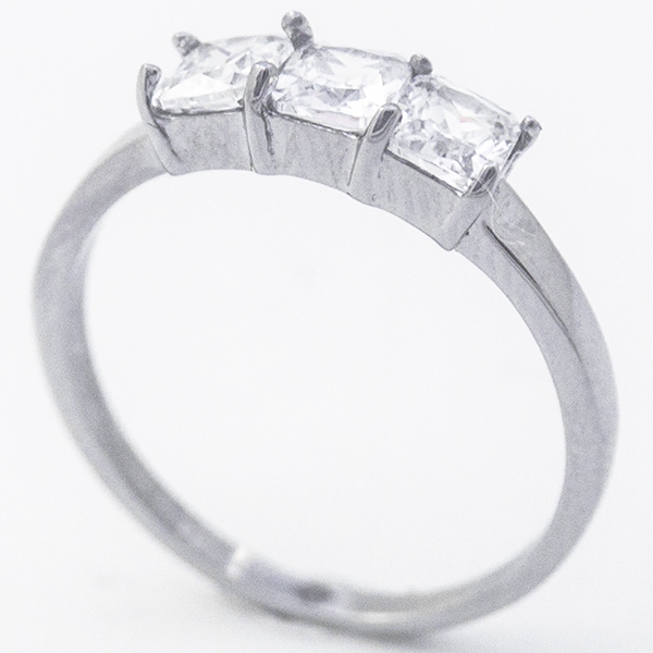Joyas de acero quirúrgico por mayor, Anillos, anillo acero con tres circones, diseño femenino-Joyas de Acero-Anillos-RA0816