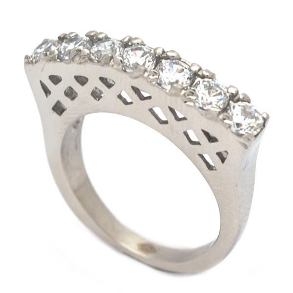 Joyas de acero quirúrgico por mayor, Anillos, anillo acero, clásico diseño de medio cintillo-Joyas de Acero-Anillos-RA0818