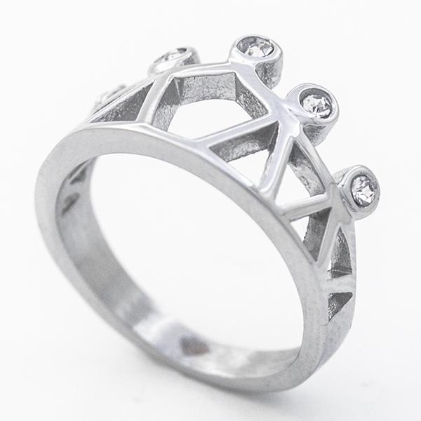 Joyas de acero quirúrgico por mayor, Anillos, anillo acero forma de corona con circones , diseño juv-Joyas de Acero-Anillos-RA0819