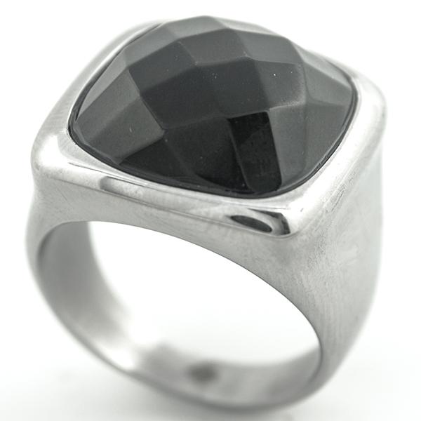 Joyas de acero quirúrgico por mayor, Anillos, anillo acero y cristal negro facetado-Súper Ofertas-Oferta anillos-RA0821L