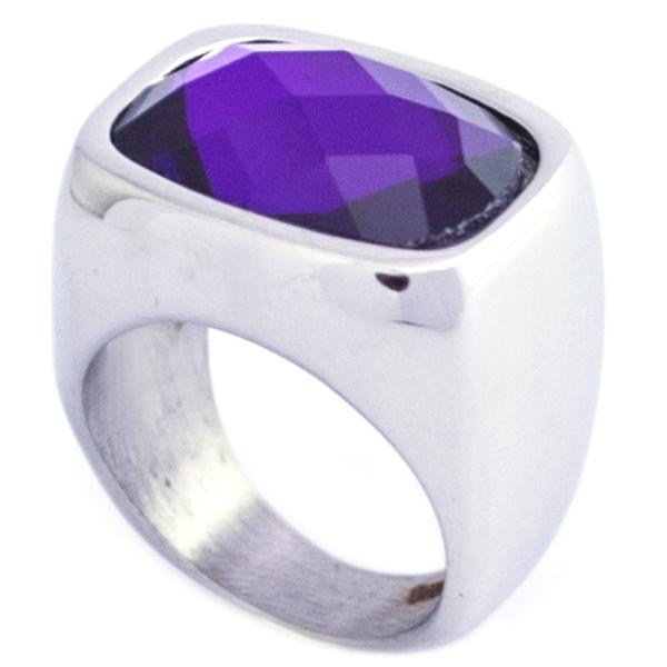 si eres fanática del morado este modelo es para ti, acero y cristal facetado-Joyas de Acero-Anillos-RA0826M