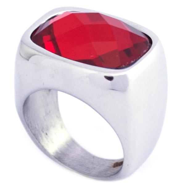 moderno y atrevido, cristal rojo facetado6-Joyas de Acero-Anillos-RA0826RL