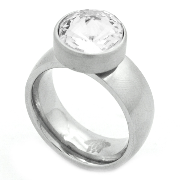 si tu estilo es rockero este diseño es para ti, acero satinado y cristal-Joyas de Acero-Anillos-RA0828C