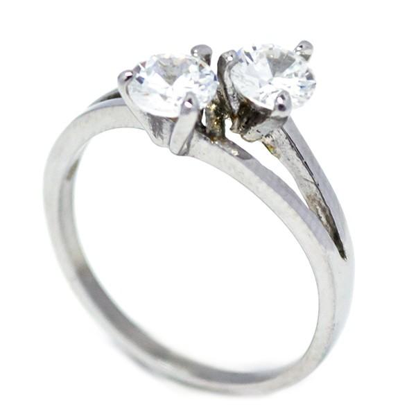 Anillos-Joyas de Acero por mayor, delicado anillo tu y yo con circones blancos ideal para ti  -Joyas de Acero-Anillos-RA0863