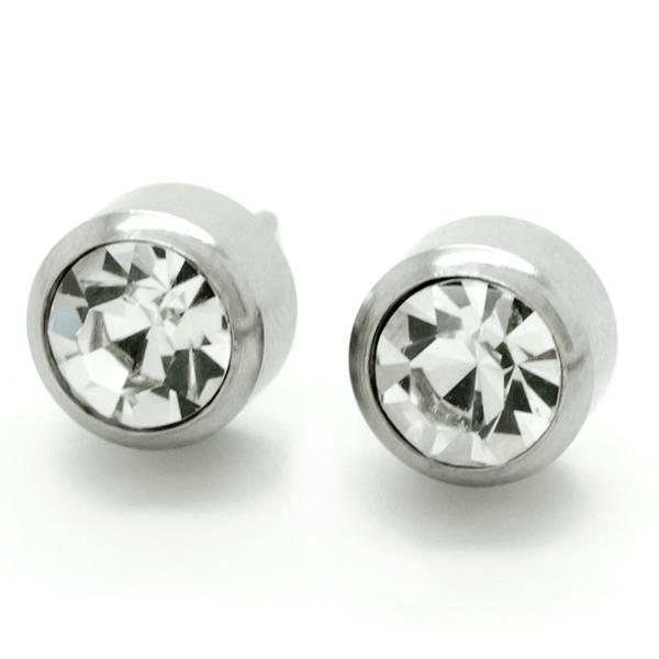 Joyas de acero quirurgico por mayor, Aros. Aro punto de luz brillante con tornillo de 7 mm-Joyas de Acero-Aros-EA0057C