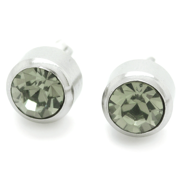 Joyas de acero quirúrgico por mayor, aros diseño discreto con un pequeño circón gris, tamaño 7 mm-Joyas de Acero-Aros-EA0057G