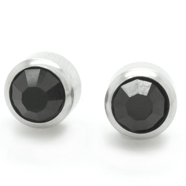 Joyas de acero quirurgico por mayor, Aros. Aro punto de luz con circon negro de 6 mm con tornillo-Joyas de Acero-Aros-EA0057N
