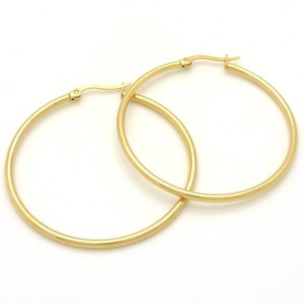 Joyas de acero quirurgico por mayor, Aros. 45 mm de argolla dorada tubular-Joyas de Acero-Aros-EA0082D