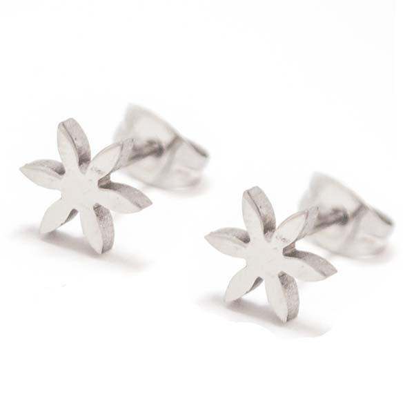 Joyas de acero quirurgico por mayor, Aros. Aro de 7 mm forma de flor petalos delgados-Joyas de Acero-Aros-EA0161P