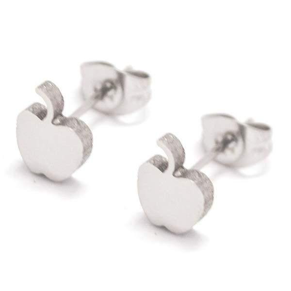 Joyas de acero quirurgico por mayor, Aros. Aro pequeño de manzana, pulido-Joyas de Acero-Aros-EA0164