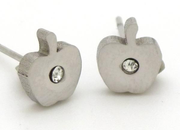 Joyas de acero quirurgico por mayor, Aros. Aro pequeño de manzana, pulido y con aplicaciónde circón-Joyas de Acero-Aros-EA0164C