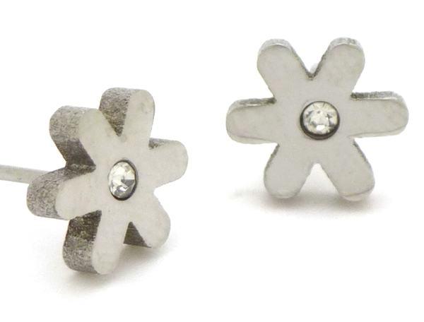 Joyas de acero quirurgico por mayor, Aros. Aro flor pequeño con circón-Joyas de Acero-Aros-EA0253C