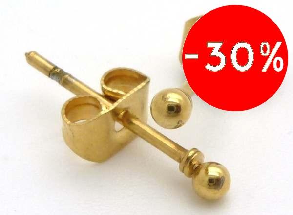 Joyas de acero quirurgico por mayor, Aros. Aro ionizado dorado forma de pelotita (puntito)-Súper Ofertas-Todo a $ 700-EA0293PL