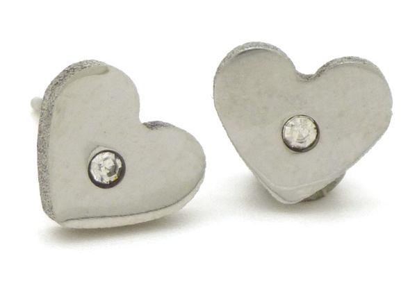 Joyas de acero quirurgico por mayor, Aros. Aros pequeños corazón con circón, ideal para niñita-Joyas de Acero-Aros-EA0532C