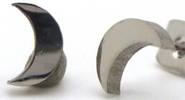 Joyas de acero quirurgico por mayor, Aros. Aros pequeños en forma de luna-Joyas de Acero-Aros-EA0534